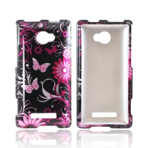 HTC 8X Hard Case - Pink Flowers and Butterflies on Black