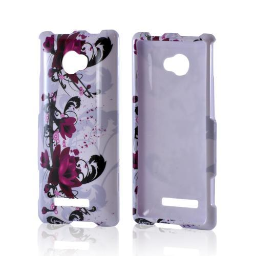 Magenta Flowers on White Hard Case for HTC 8X