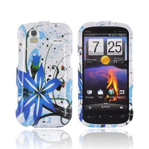 HTC Amaze 4G Hard Case - Blue Flower Splash on White