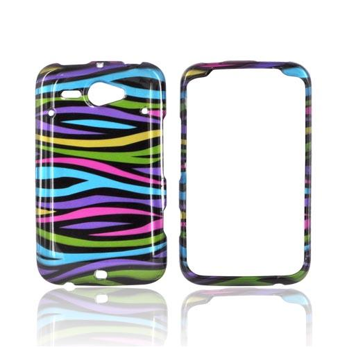 HTC Status Hard Case - Rainbow Zebra on Black