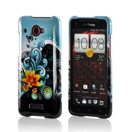 Yellow Lily w/ Swirls on Turquoise/ Black Hard Case for HTC Droid DNA