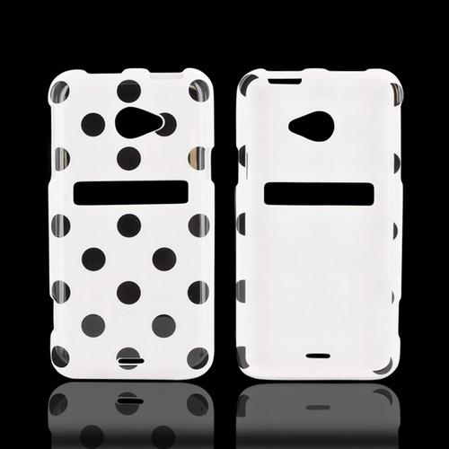 HTC EVO 4G LTE Hard Case - Black Polka Dots on White