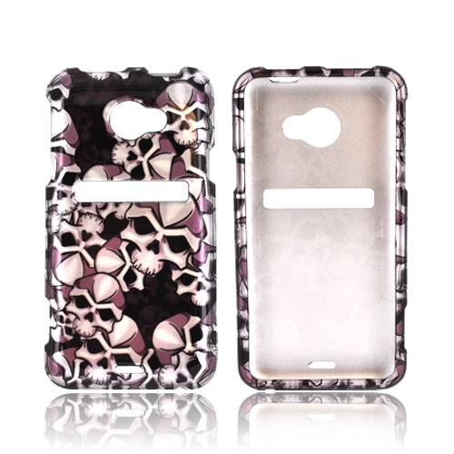 HTC EVO 4G LTE Hard Case - Silver Skulls on Black