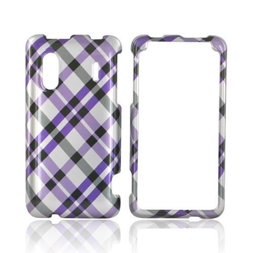 HTC EVO Design 4G Hard Case - Purple/ Gray Plaid on Silver