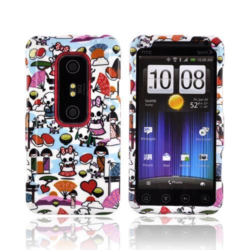 HTC EVO 3D Hard Case - Kawaii Baby Skull Design on White