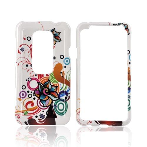 HTC EVO 3D Hard Case - Rainbow Autumn Floral Design on White