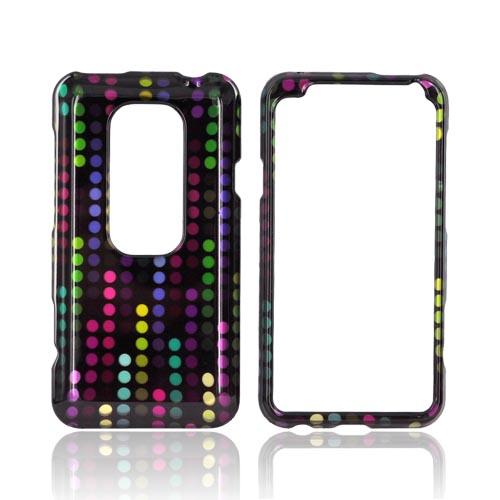 HTC EVO 3D Hard Case - Rainbow Falling Dots on Black
