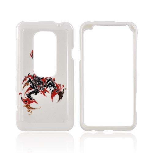 HTC EVO 3D Hard Case - Red/ Black Scorpion on white