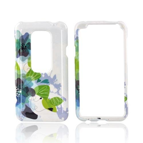 HTC EVO 3D Hard Case - Blue/ Green Water Lilies on White