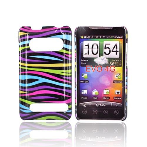 HTC Evo 4G Hard Case - Rainbow Zebra Design on Black