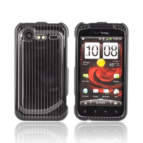 HTC Droid Incredible 2 Hard Case - Silver Lines on Black