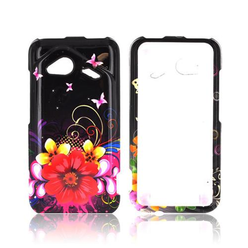 HTC Droid Incredible 4G LTE Hard Case - Yellow Chromatic Flowers on Black