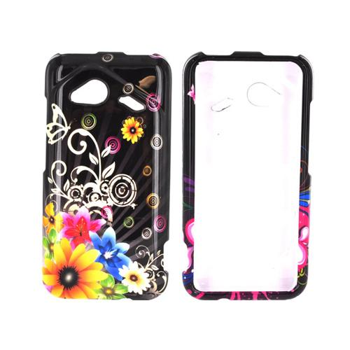 HTC Droid Incredible 4G LTE Hard Case - Red & Yellow Delusional Flowers on Black