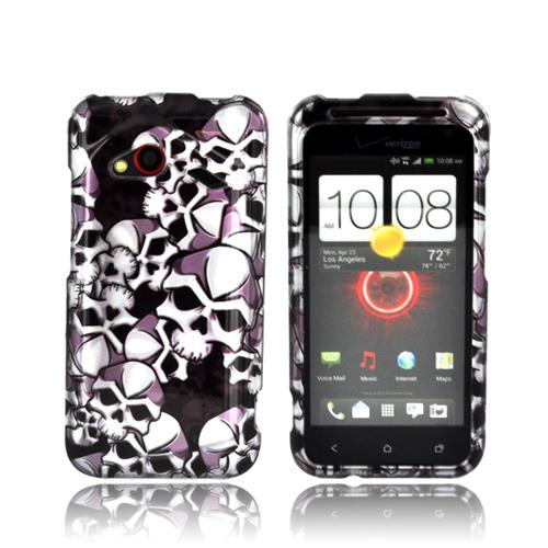 HTC Droid Incredible 4G LTE Hard Case - Silver Skulls on Black