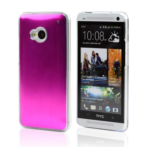 Hot Pink Aluminum Back on Clear Hard Case for HTC One