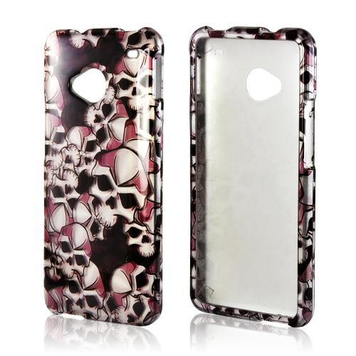 Silver Skulls on Black Hard Case for HTC One