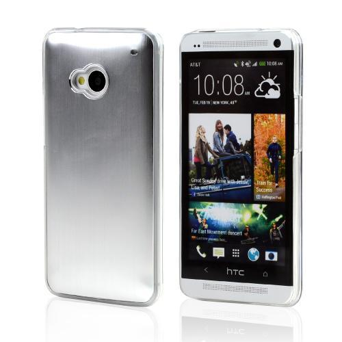 Silver Aluminum Back on Clear Hard Case for HTC One