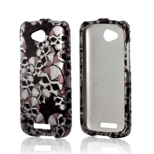 Silver Skulls on Black Hard Case for HTC One VX