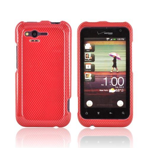 HTC Rhyme Hard Case - Red Carbon Fiber