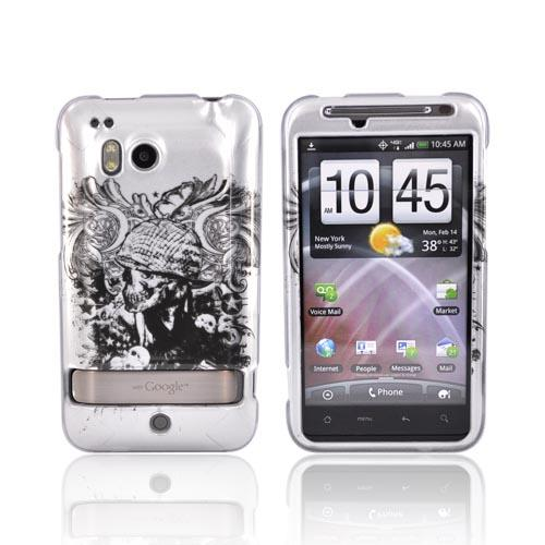 HTC Thunderbolt Hard Case - Army Skull on Silver
