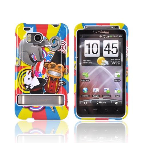 HTC Thunderbolt Hard Case - Monkey, Elephant, & Bunny on Red/Blue/Yellow