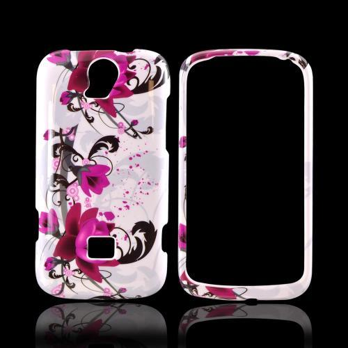 T-Mobile Huawei myTouch Q 2 Hard Case - Magenta Flowers & Black Vines on White