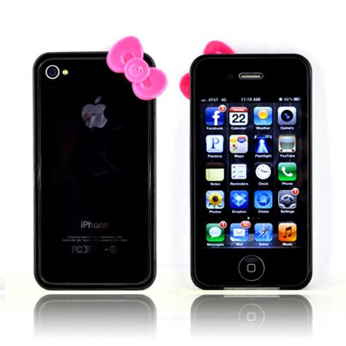 AT&T/ Verizon Apple iPhone 4, iPhone 4S Hard Case Bumper w/ Bow - Black/ Hot Pink