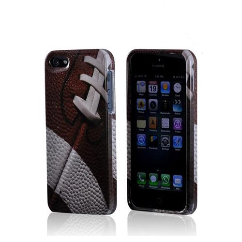 Apple iPhone SE / 5 / 5S Hard Case,  [Brown/ White Football]  Slim & Protective Crystal Glossy Snap-on Hard Polycarbonate Plastic Case Cover