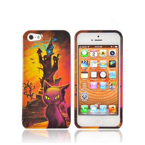 Apple iPhone SE / 5 / 5S Hard Case,  [Orange/ Yellow Witch's Tower w/ Cat]  Slim & Protective Crystal Glossy Snap-on Hard Polycarbonate Plastic Case Cover
