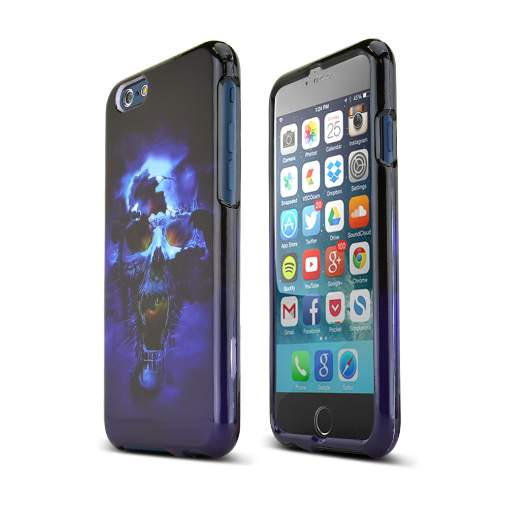 Apple iPhone 6/ 6S Case,  [Blue Skull]  Slim & Protective Crystal Glossy Snap-on Hard Polycarbonate Plastic Case Cover