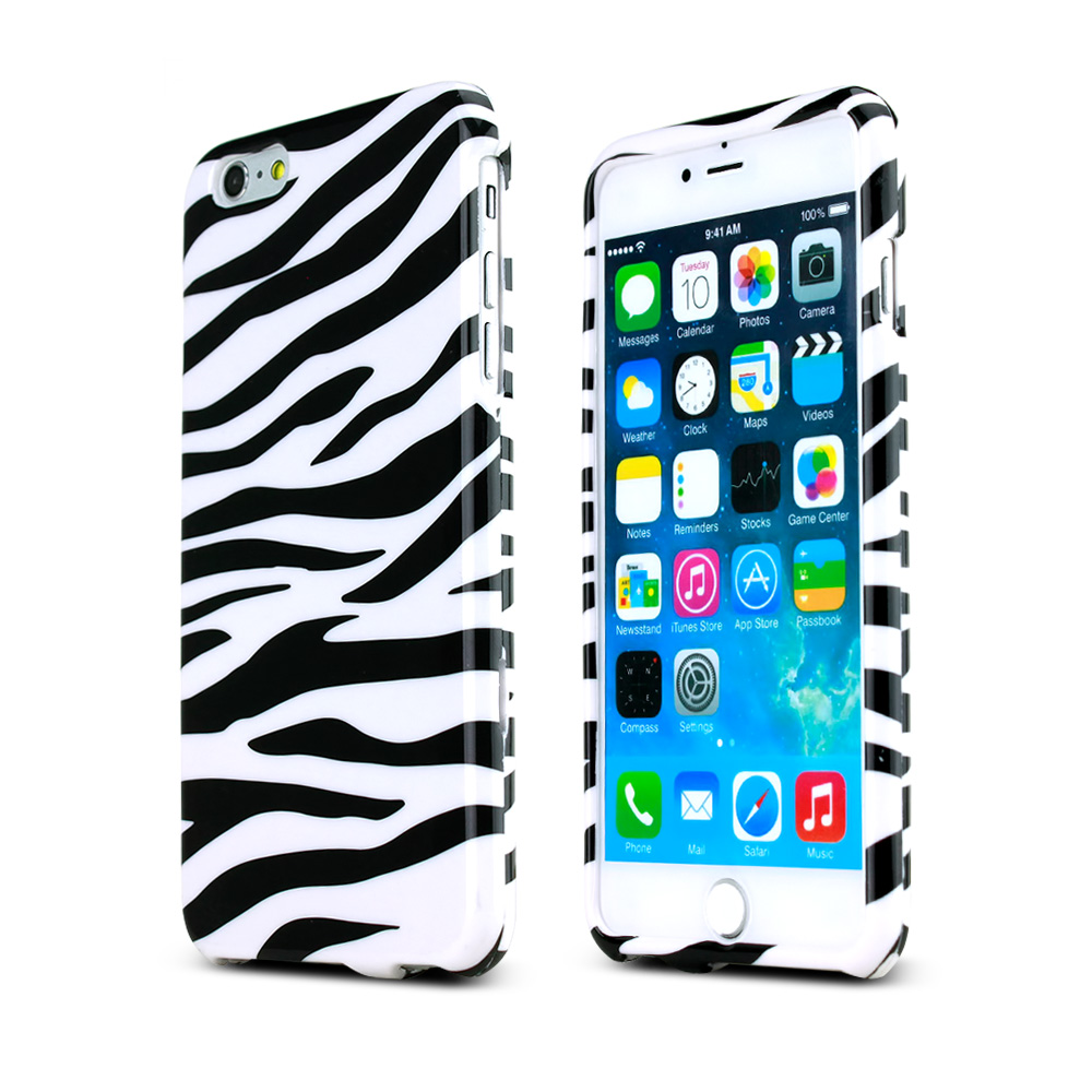 Black Zebra on White Hard Case Cover Made for Apple iPhone 6 PLUS/6S PLUS (5.5 inch) ; Perfect fit as Best Coolest Design Plastic Cases