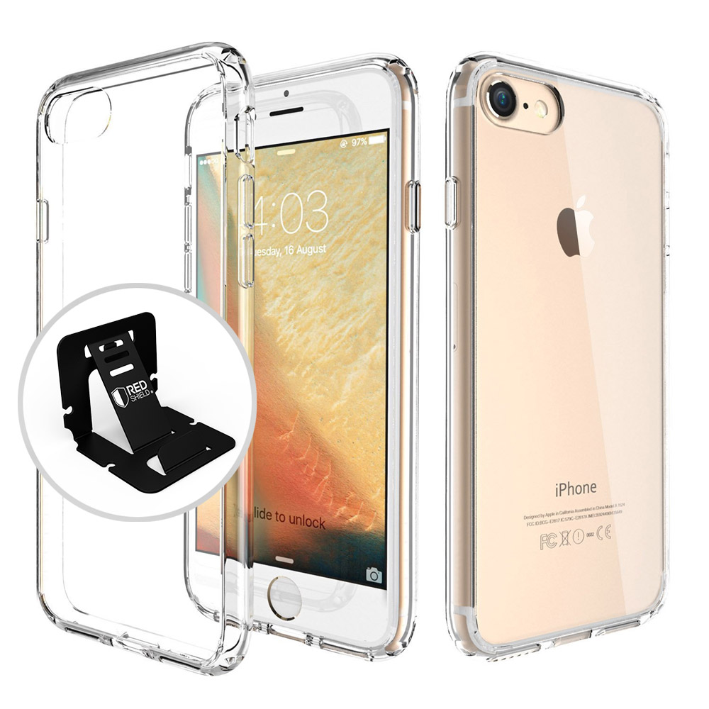 Apple iPhone 8/7/6S/6 Hard Case, REDshield Slim & Protective Crystal Glossy Snap-on Hard Polycarbonate Plastic Case Cover [Clear] with Travel Wallet Phone Stand