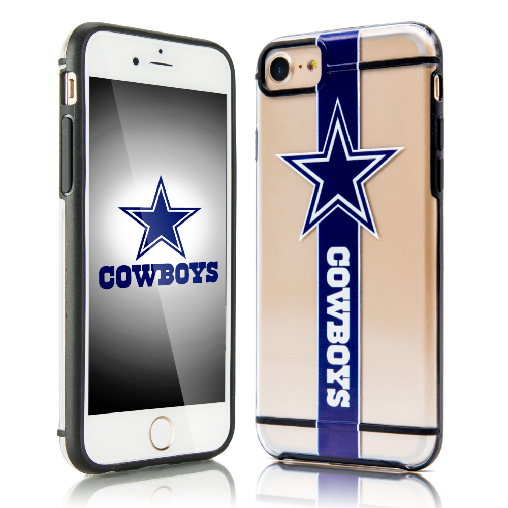 Apple iPhone 8/7/6S/6 Sports Case, [Dallas Cowboys] Hydroclear Ultra-Slim 3D UV Printed Textured Hard Back Case w/ TPU Border