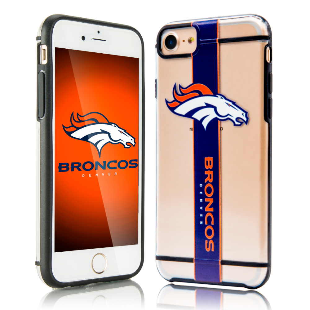 Apple iPhone 8 / 7 / 6S / 6 Sports Case, [Denver Broncos] Hydroclear Ultra-Slim 3D UV Printed Textured Hard Back Case w/ TPU Border