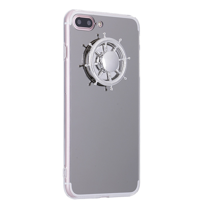 Fidget Spinner iPhone Case, For Apple iPhone 7 / 6 / 6S [Silver Mirror & Clear] Protective TPU Flexible Case Cover w/ Fidget Finger Spinner