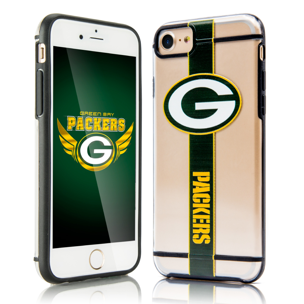 Apple iPhone 8 / 7 / 6S / 6 Sports Case, [Green Bay Packers] Hydroclear Ultra-Slim 3D UV Printed Textured Hard Back Case w/ TPU Border