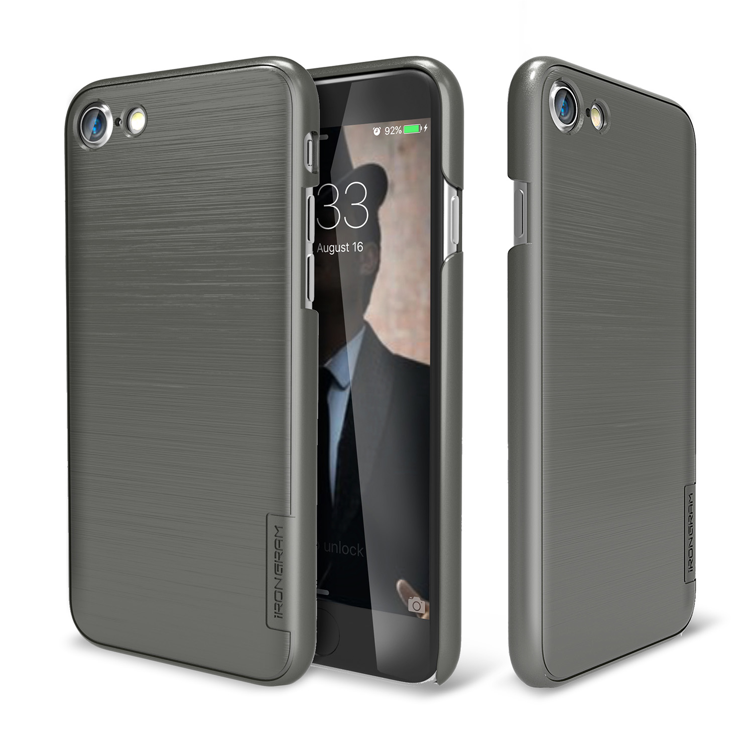 Made for Apple iPhone 8/7/6S/6 Case, IRONGRAM [Premium Series] Super Slim Fit Thin, Shock Resistant PC Metallic Brushed Hard Case [Metal Gray] by Irongram