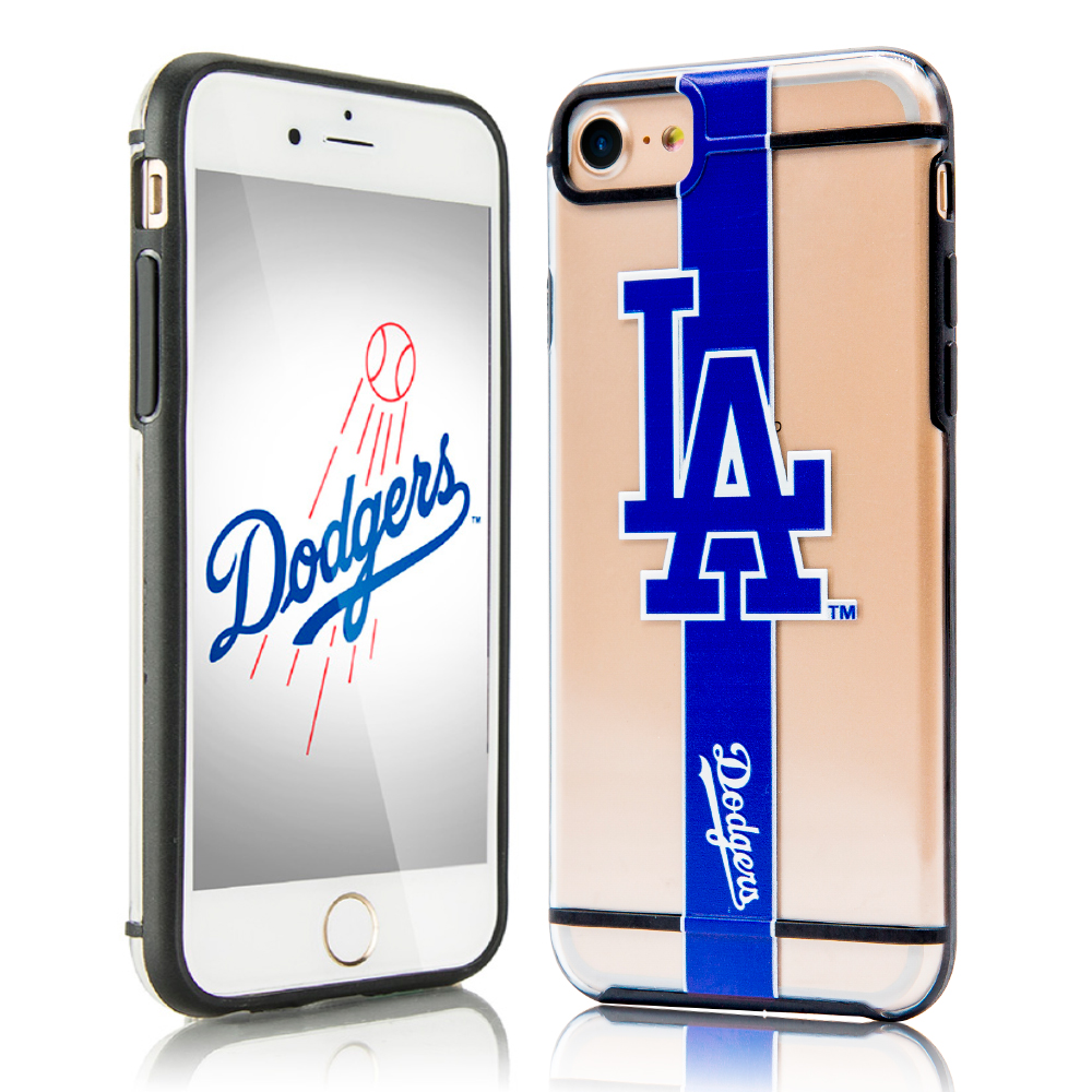 Apple iPhone 8 / 7 / 6S / 6 Sports Case, [Los Angeles Dodgers] Hydroclear Ultra-Slim 3D UV Printed Textured Hard Back Case w/ TPU Border