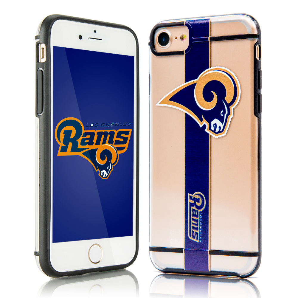 Apple iPhone 8 / 7 / 6S / 6 Sports Case, [Los Angeles Rams] Hydroclear Ultra-Slim 3D UV Printed Textured Hard Back Case w/ TPU Border