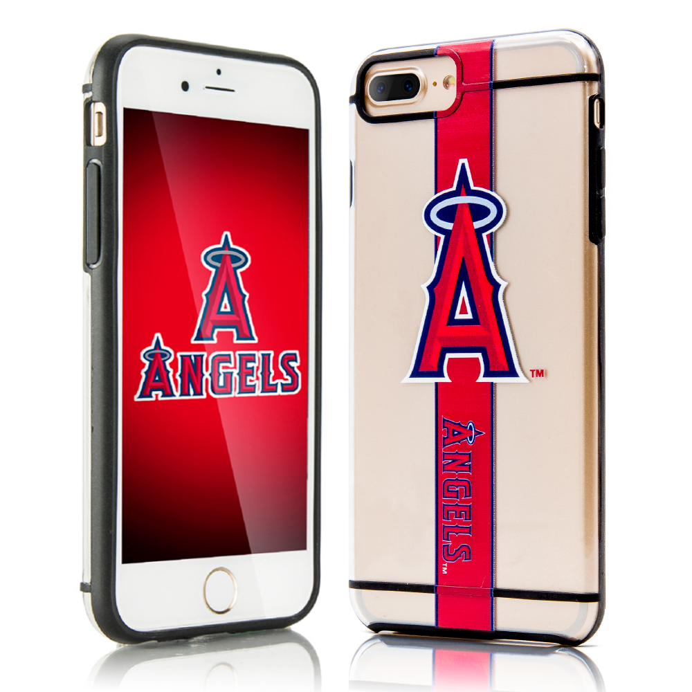 Apple iPhone 8 Plus / 7 Plus / 6S Plus / 6 Plus Sports Case, [Los Angeles Angels] Hydroclear Ultra-Slim 3D UV Printed Textured Hard Back Case w/ TPU Border