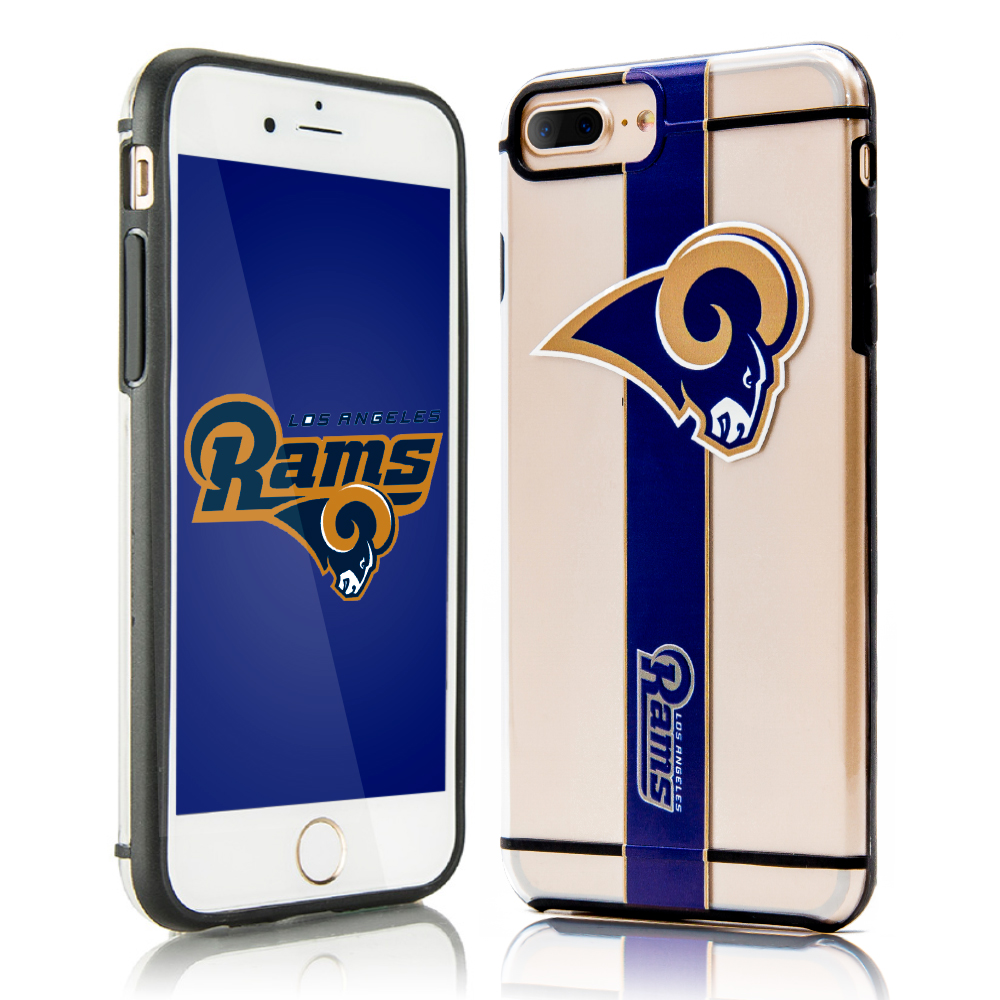Made for Apple iPhone 8 Plus / 7 Plus / 6S Plus / 6 Plus Sports Case, [Los Angeles Rams] Hydroclear Ultra-Slim 3D UV Printed Textured Hard Back Case w/ TPU Border by NFL