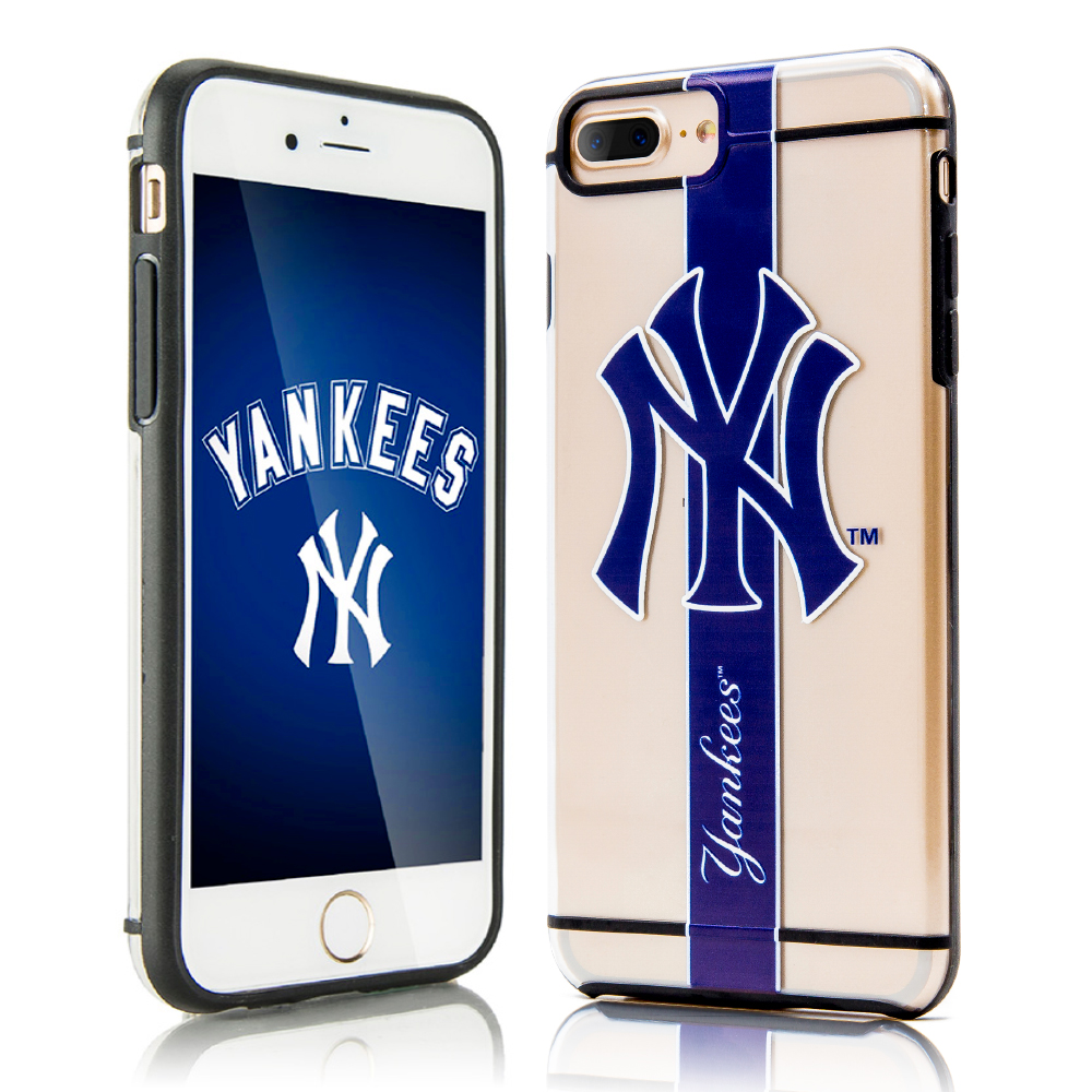 Apple iPhone 8 Plus / 7 Plus / 6S Plus / 6 Plus Sports Case, [New York Yankees] Hydroclear Ultra-Slim 3D UV Printed Textured Hard Back Case w/ TPU Border