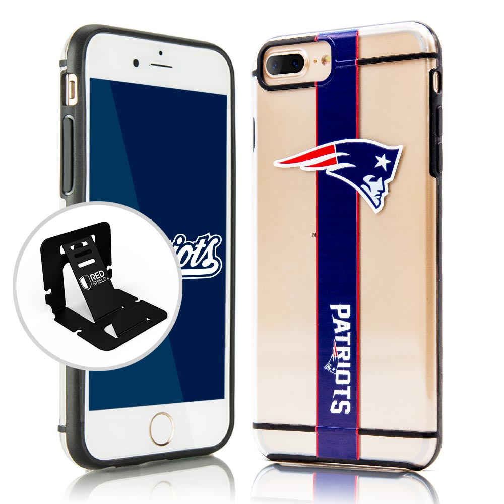 Apple iPhone 8/7/6S/6 Plus Sports Case, [New England Patriots] Hydroclear Ultra-Slim 3D UV Printed Textued Hard Back Case w/ TPU Border with Travel Wallet Phone Stand
