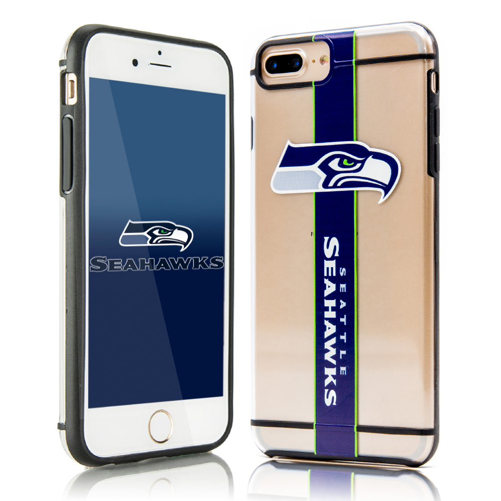 Apple iPhone 8/7/6S/6 Plus Sports Case, [Seattle Seahawks] Hydroclear Ultra-Slim 3D UV Printed Textured Hard Back Case w/ TPU Border