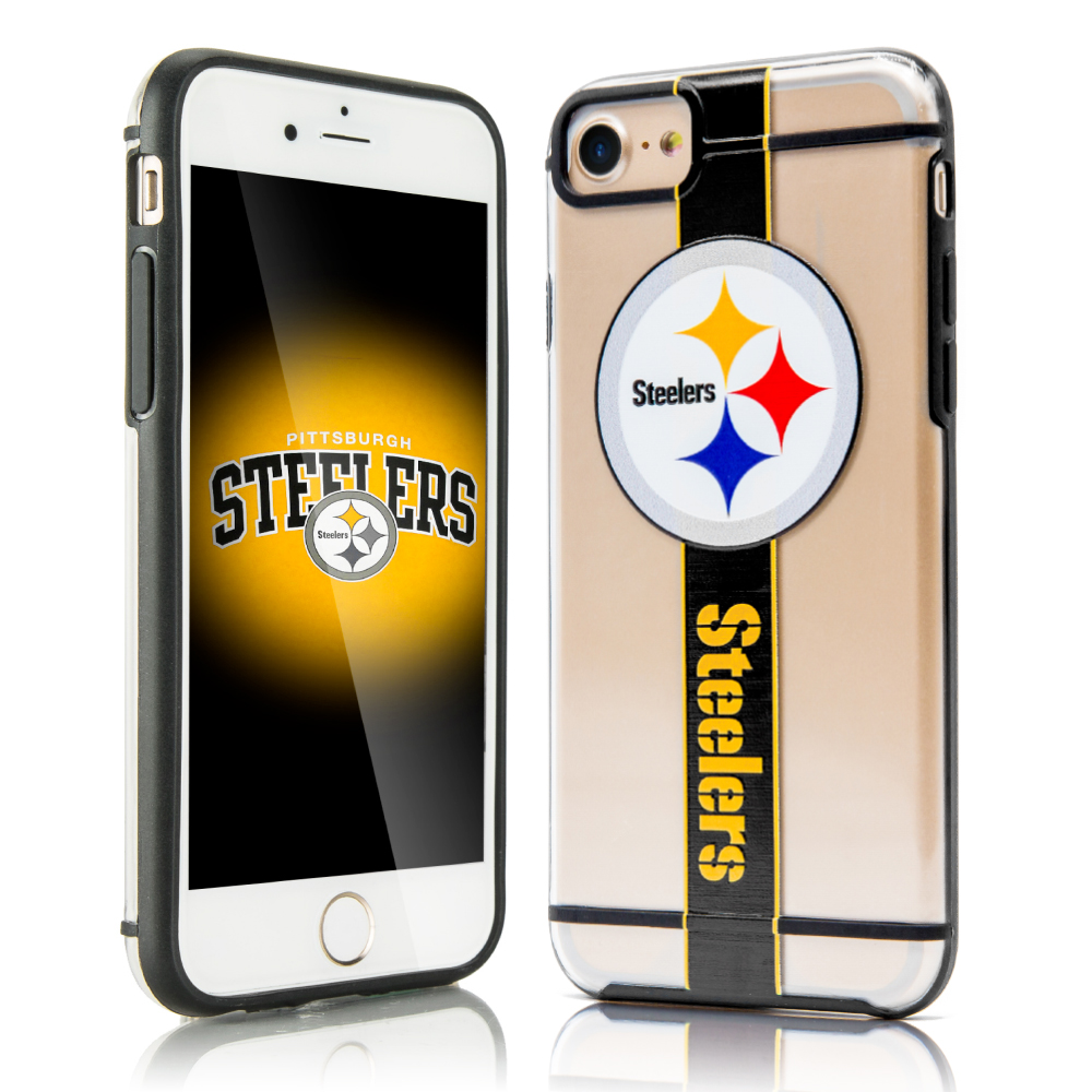 Apple iPhone 8 / 7 / 6S / 6 Sports Case, [Pittsburgh Steelers] Hydroclear Ultra-Slim 3D UV Printed Textured Hard Back Case w/ TPU Border