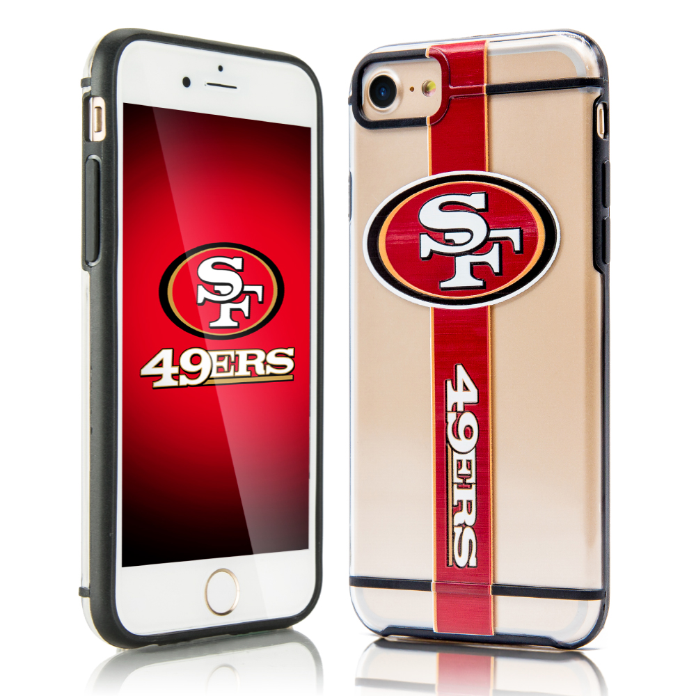 Made for Apple iPhone 8 / 7 / 6S / 6 Sports Case, [San Francisco 49ers] Hydroclear Ultra-Slim 3D UV Printed Textured Hard Back Case w/ TPU Border by NFL