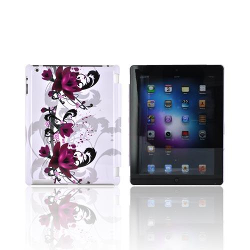 Apple New iPad (3rd Gen.) Hard Case - Magenta Flowers on White (Works with Smart Cover!)
