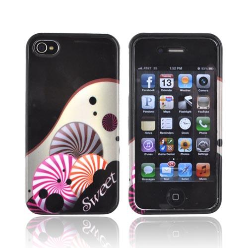 AT&T/ Verizon Apple iPhone 4, iPhone 4S Hard Case - Sweet Candy on Black