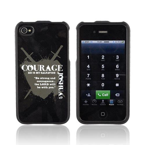 AT&T/ Verizon Apple iPhone 4 Passion Series Hard Case - Gray Courage Joshua 1:9 on Black