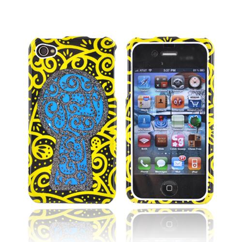 Apple Verizon/ AT&T iPhone 4, iPhone 4S Hard Case - Black Key Hole Blue Sparkle